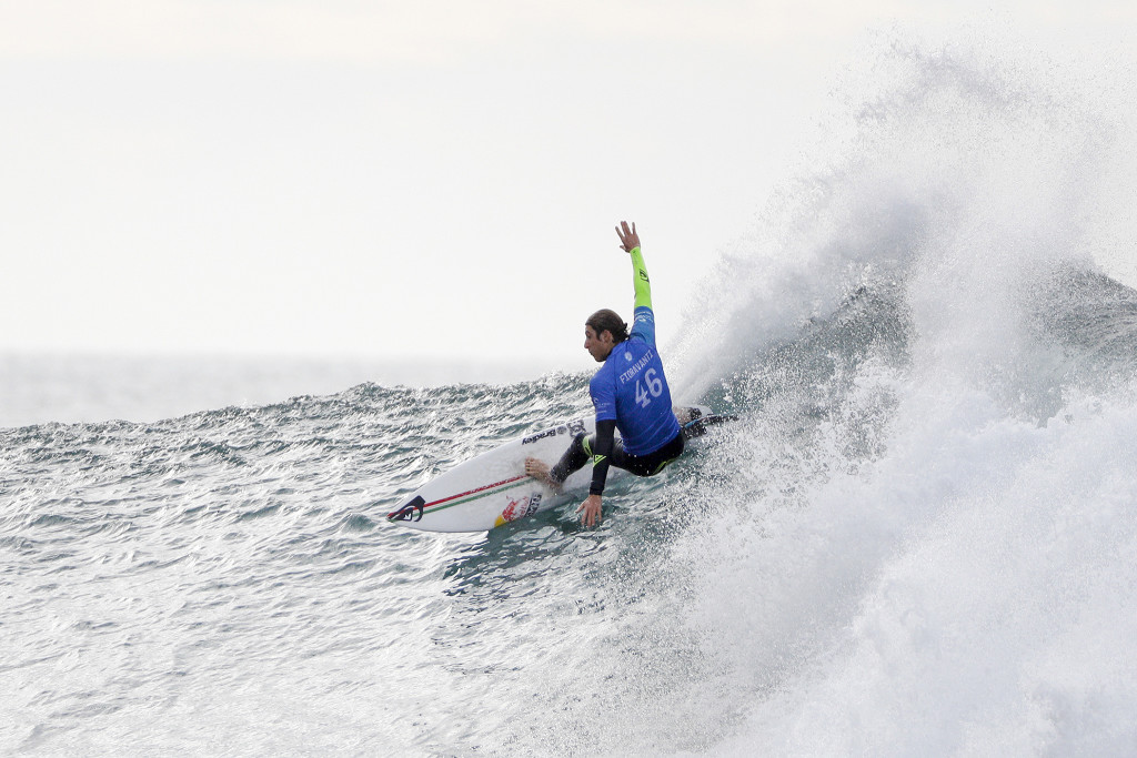Rookie Leonardo Fioravanti of Italy finished equal 25th after placing second in Heat 3 of Round Two at the Rip Curl Pro Bells Beach.